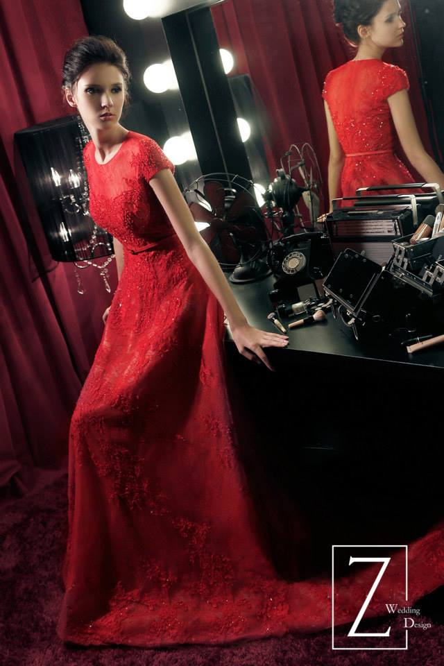 red-sleeved-gown-illusion-neckline