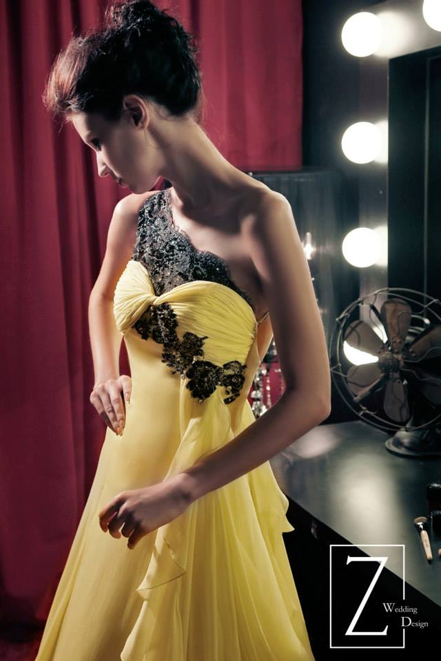 yellow-assymetrical-gown-black-lace