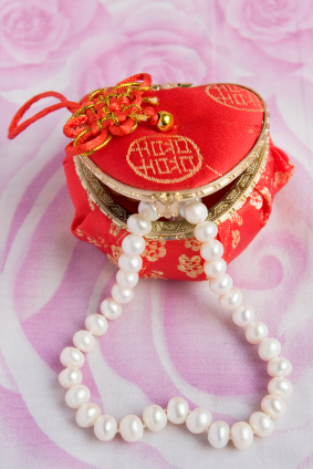pearl necklace in box