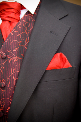 grooms red jacket