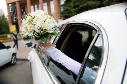 wedding car and bouquet