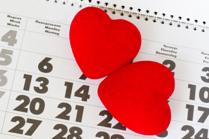 two hearts on calendar