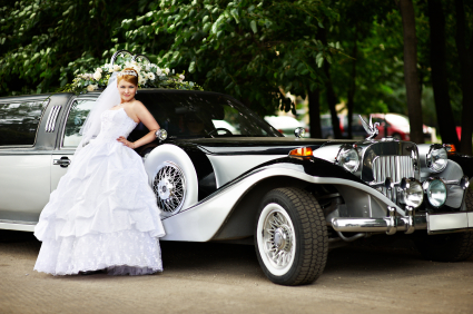 luxury bride in limousine