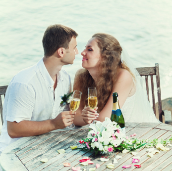 Couple and Rustic Table